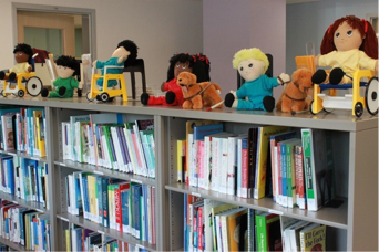 library shelves with toys on top