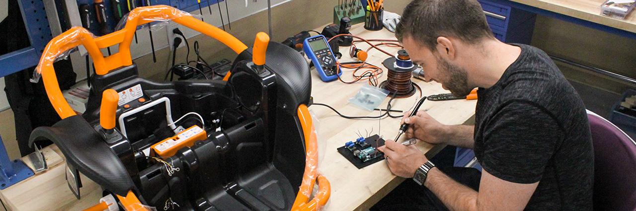 man preparing specialized car seat